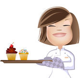 Meisje en Cupcakes2 Stock Afbeelding