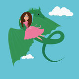 Meisje en de Draak royalty-vrije illustratie