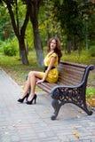 Meisje en de Herfst stock foto