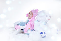 Meisje en de magische winter Royalty-vrije Stock Foto's