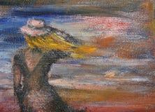 Meisje en de Oceaan stock illustratie