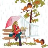 Meisje en dieren stock illustratie