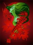 Meisje en draak Stock Afbeeldingen