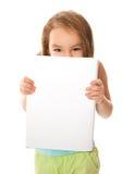 Meisje en een banner Stock Afbeeldingen
