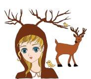 Meisje en een hert op een witte achtergrond Royalty-vrije Stock Fotografie