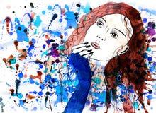 Meisje en elegantie en Tekening en mooi Royalty-vrije Stock Afbeelding