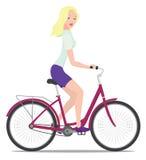 Meisje en fiets. Royalty-vrije Stock Afbeeldingen