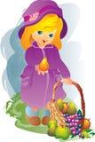 meisje en fruit stock illustratie