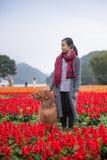 Meisje en golden retriever in de bloemen Royalty-vrije Stock Foto's