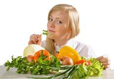 Meisje en groenten Royalty-vrije Stock Afbeelding