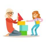Meisje en Grootmoeder de Bouwpiramide van Blokken, een Deel van Grootouders die Pret met Kleinkinderenreeks hebben stock illustratie