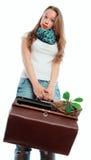 Meisje en haar bagage Stock Foto