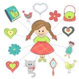 Meisje en haar dingen Stock Foto