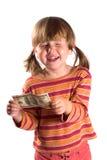 Meisje en haar eerste salaris royalty-vrije stock foto