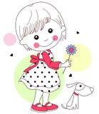 Meisje en haar huisdier Stock Afbeeldingen