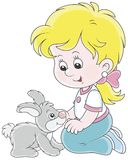 Meisje en haar klein konijn Royalty-vrije Stock Foto