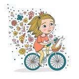 Meisje en Haar Unicorn On Bicycle royalty-vrije illustratie
