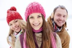 Meisje en haar vrienden Stock Afbeelding