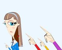Meisje en handen met het richten van vingers achter geïsoleerd op lichtblauwe achtergrond Concept overeenstemming, dictature, voo Stock Afbeeldingen