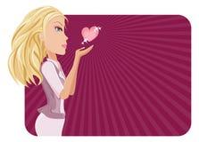 Meisje en hart Royalty-vrije Stock Afbeeldingen