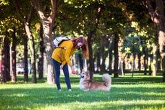 Meisje en Hond stock afbeelding