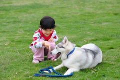 Meisje en hond royalty-vrije stock foto