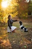 Meisje en hond in de herfstpark stock afbeeldingen