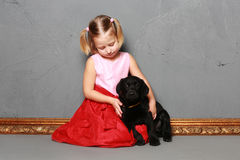 Meisje en hond in de studio Stock Afbeelding
