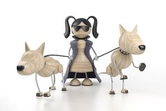 Meisje en honden stock illustratie