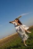 Meisje en honkbalknuppel 4 Stock Foto