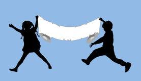 Meisje en Jongen 3 van de banner Stock Foto's