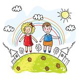 Meisje en jongen Vector Illustratie