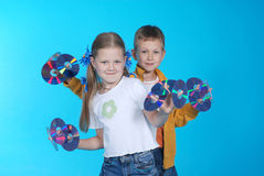 Meisje en jongen Stock Foto's
