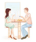 Meisje en jongen bij een koffie Royalty-vrije Stock Foto's