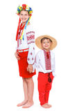 Meisje en jongen in het nationale Oekraïense kostuum Royalty-vrije Stock Fotografie