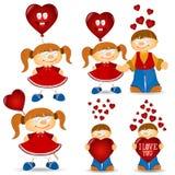 Meisje en jongens valentive liefdebeeldverhaal Stock Foto's