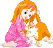 Meisje en kat royalty-vrije illustratie