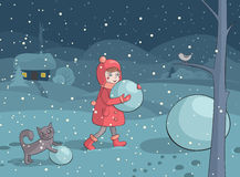 Meisje en kat die sneeuwman in de avond maken Stock Afbeelding