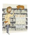 Meisje en kattenvergadering in een bibliotheek Vector hand getrokken illustratie Geïsoleerd op wit kleurrijk licht beeld, met het Stock Afbeelding