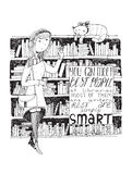 Meisje en kattenvergadering in een bibliotheek Vectorhand getrokken die illustratie, met zwarte inkt en Witboek wordt gemaakt Stock Afbeelding