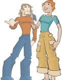 Meisje en kerel stock illustratie