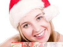 Meisje en Kerstmisdoos. Royalty-vrije Stock Afbeelding