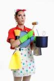 Meisje en keukenconcept Stock Foto's