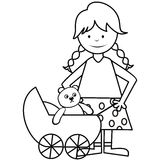 Meisje en kinderwagen - kleurend boek Royalty-vrije Stock Foto's