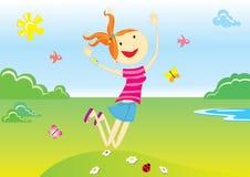 Meisje en landschap Stock Illustratie