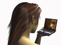 Meisje en laptop stock illustratie