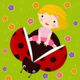 Meisje en lieveheersbeestje stock illustratie