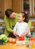 Meisje en mamma met braadpan Stock Fotografie