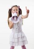 Meisje en megafoon Stock Foto's