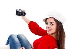 Meisje en oude stijlcamera stock fotografie
